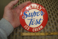 """VINTAGE PEVELY SUPER TEST ICE CREAM 6"""" CELLULOID TIN OVER CARD BOARD SIGN 1950'S"""