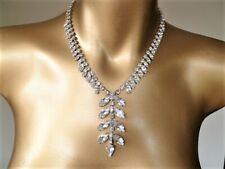 Superb HIGH QUALITY Crystal  Navette Y Drop Vintage Necklace