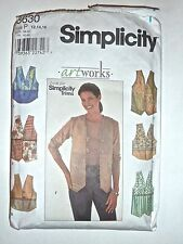 SIMPLICITY PATTERN #8630 *ARTWORKS* MISSES VESTS - SZ 12/14/16 - USED/EXC COND