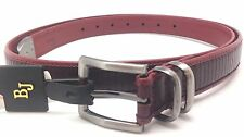 Betsey J Leather Women Designer Burgandy Belt Metal Tone Buckle Dress Style Sz L