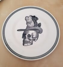 NEW (2) The Victorian English Pottery Halloween Skull Hat Appetizer Salad Plates