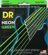 DR NGE7-10 Neon Green Electric Guitar Strings 10-56 - Seven String set 10-56