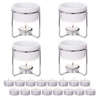 Hiware 4 Pieces Ceramic Butter Warmers with 16 Pieces Tealight Candles Set for -
