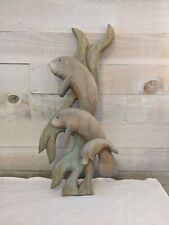 Carved Wood Manatee Sculpture Wall Hanging Home Decor