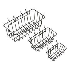 3 Pack Garage Wall Pegboard Storage Tool Box Organizer Shelf Baskets Steel Mesh