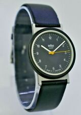 Vintage Unisex 1980s BRAUN Quartz Wrist Watch, Black, Germany, Bauhaus 4789 AW10