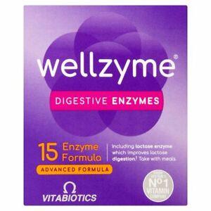 Vitabiotics Wellzyme Digestive Enzymes 15 Formula 60 Capsules BBE 03/2021