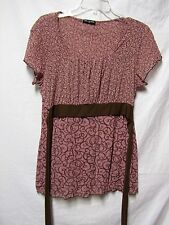 CHA CHA VENTE stretchy top shirt blouse Large Bust 42-44 Brown & Pink