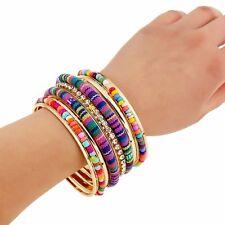 Bohemian Cloth Bead Cuff Bangle Wristband Bracelet Jewelry