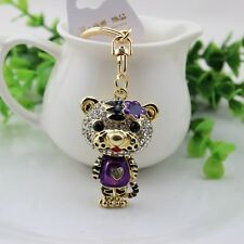 purple  tiger  crystal Key chain Keyring Handbag Accessory Charm Pendant