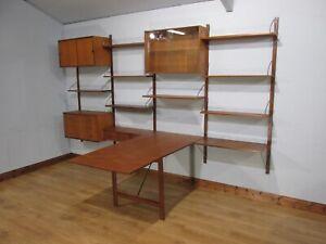 MID CENTURY RETRO 60'S 3 BAY TEAK DANISH ROYAL SYSTEM BOOKCASE CABINET SHELVING