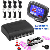 Front Rear Car Parking Sensor Kit View Reverse Alarm Backup System LCD Display