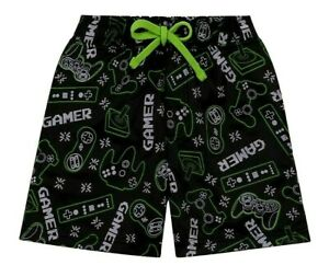 Gaming Boys Shorts Swimming Trunks, Swim Shorts with Controller Design