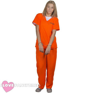 WOMENS PRISONER COSTUME ORANGE TOP TROUSERS CONVICT HALLOWEEN FANCY DRESS 8/20