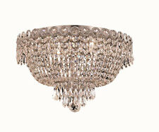 "World Crystal  Empire 16"" Crystal Flush Mount Chandelier Ceiling Light,Chrome"