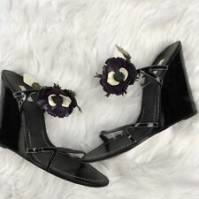 PRADA Women's Wedge Sandals Size 41 Black Patent Leather Flower Blossom Strappy