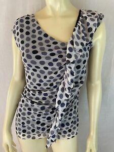 WestonWear Top M Nylon Pullover Stretch Knit Shirt Double Layer Raw Edges Ruffle
