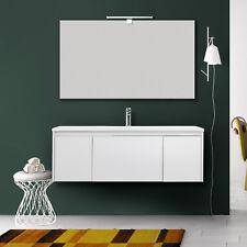 Mobile bagno moderno 120 cm design sospeso bianco opaco chiusura softclose