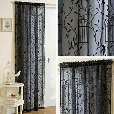 Black Voile Curtain Panel Birds Cage Leaf Flocked Slot Top Rod Pocket Voiles