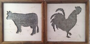 Rustic Rooster & Cow Corrugated Metal Farm Wall Art Decor Hanging Picture Lot