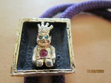 """Vintage BOLO TIE purple with golden king Budda ruby emerald PA 1x3/4"""""""