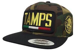 TAMAULIPAS [TAMPS} LOGO FEDERAL ALL GOLD 2 LOGOS HAT CAMO BLACK SNAPBACK