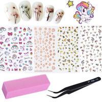 4 Sheets 3D Nail Art Stickers Rose Gold Flower Laser w/ Buffer Tweezers File