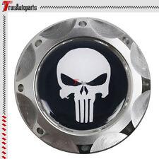 Silver Aluminum Engine Oil Fuel Filter Tank Cap Cover Punisher Skull For Subaru