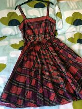 Vintage 70s Fit & Flare Nylon Dress Sleeveless Red Tartan Print SZ8/10  #360#