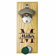 Personalized Engraved Wall Mounted Bottle Opener with Magnet - Light Wood