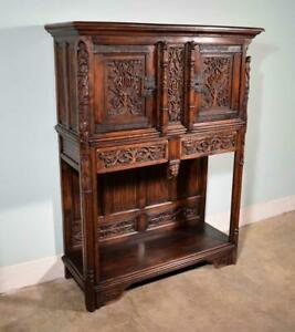 *Large Antique French Gothic Revival Cabinet Highly Carved in Oak