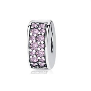 Spacer Pave Stopper Clip for Charm Bracelet. Authentic 925 Sterling Silver
