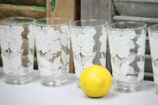 Vintage Glasses Glassware Beverage Tumblers Frosted White Flowers Retro set of 6