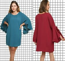 XL-PLUS 1XL 2XL UMGEE TEAL or BURGUNDY Solid Split Ruffle Sleev Dress/Tunic BHCS