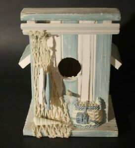 Small Shabby Chic Nautical Style Bird House-with fish, net and shell decorations
