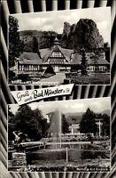 Bad Münster am Stein Ebernburg s/w AK Gruss aus Mehrbildkarte ~1950/60