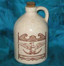 "Antique Miniature Stoneware Crock Jug w Eagle Tavern Sign Tan-Speckled Glaze 5"""