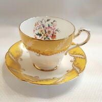 Paragon Yellow Gold Cup Saucer Flowers By Appointment To Her Majesty The Queen