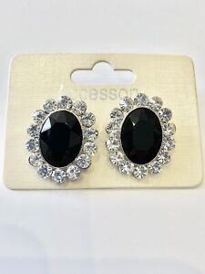 Large Black Stone Oval Shaped Earrings Vintage / Retro Style