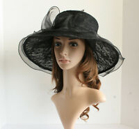 NEW Church Derby Wedding Lace & Organza Soft Dress hat Black VF514