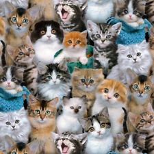 "ELIZABETH'S STUDIO ""CAT BREEDS"" CAT CROWD Multi by yard"