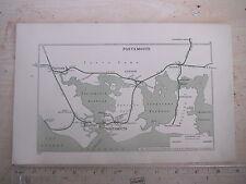 GOSPORT FAREHAM PORTSMOUTH HAYLING ISLAND LEE O SOLENT EMSWORTH RAILWAY MAP 1928