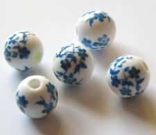 30pcs 8mm Round Porcelain/Ceramic Beads - White / Bright Blue Oriental Flowers