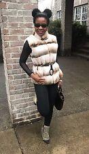 Designer Adrienne Landau Sable hue cream Rex Chinchilla fur vest jacket Coat S-M
