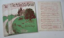 Wholesale Lot of 25 Old 1910 - Take Me Back to Old Kentucky - Sheet Music