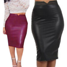 Women Sexy Soft PU Leather Skirt High Waist Slim Hip Pencil Skirts Mini SkirtH&T