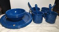 Vintage Blue Speckled EnamelWare Camp Dish Set 16 Pc Bowls Plates Spoons Mugs