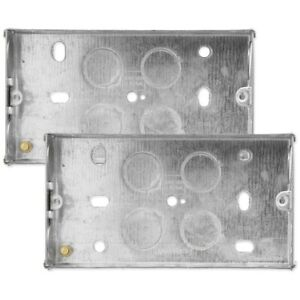 2x DOUBLE METAL BACK BOXES 2 Gang 25mm Light Switch Wall Socket Electrical Plate