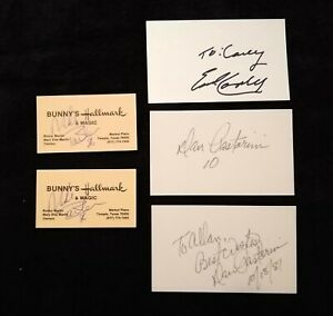 Lot of 10 Authentic Signed Cards - Vintage Texas Sports Autographs Earl Campbell