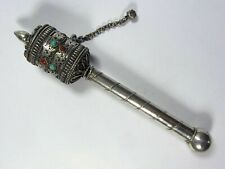 Antique Tibetan Silver Mani Prayer Wheel with Mantra Scroll, Coral & Turquoise